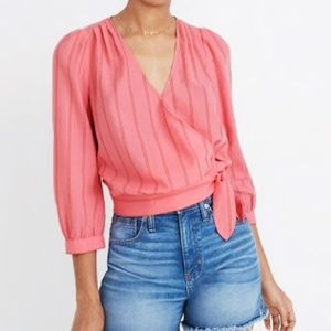 Madewell | Cecilia Stripe Pink Wrap Top
